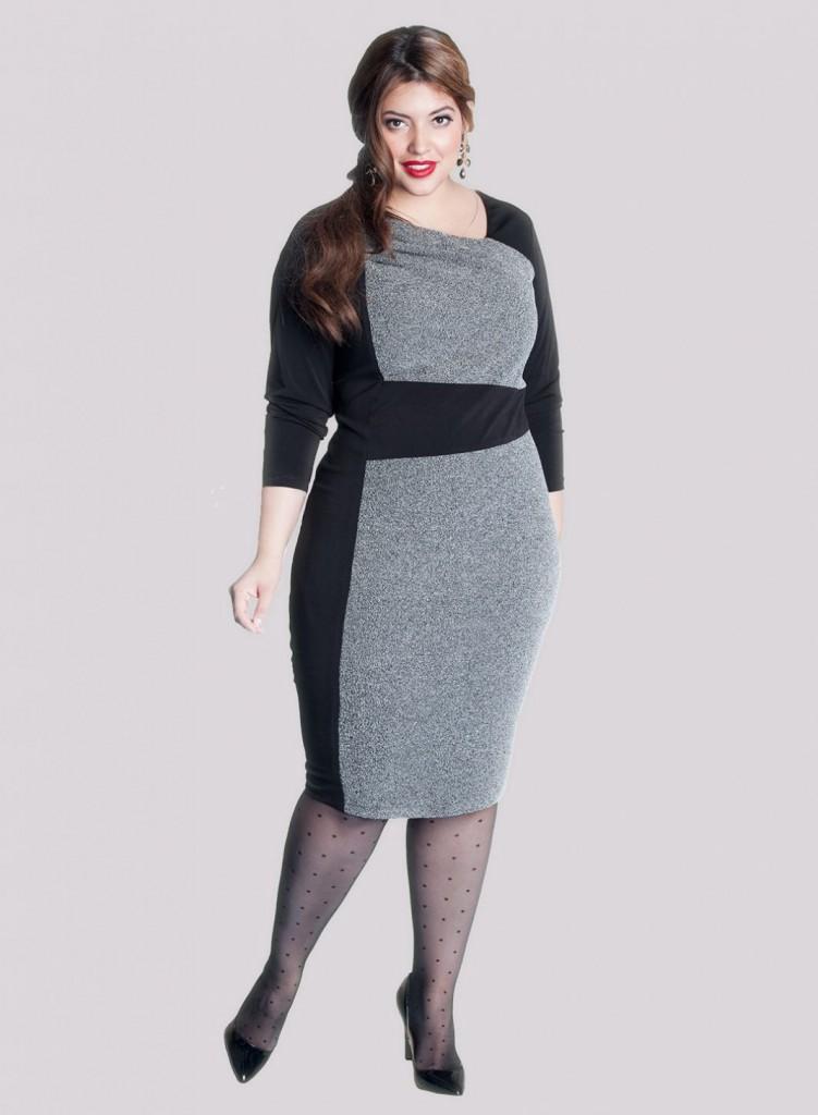 Черно-серое офисное платье для полных женщин