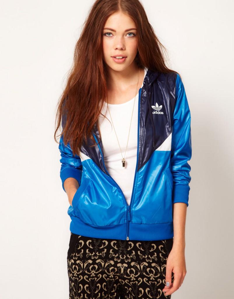Модная сине-голубая женская ветровка