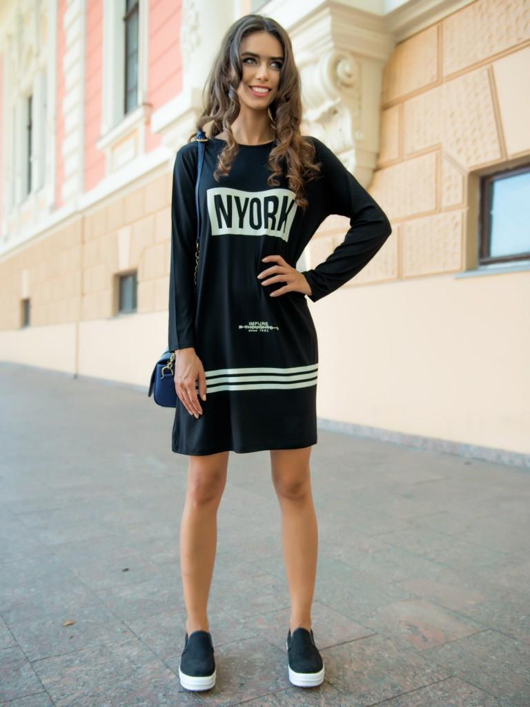 Модное черно-белое платье толстовка