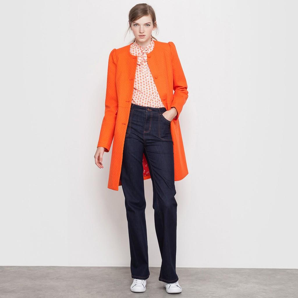 Оранжевое пальто для женщин после 40 лет