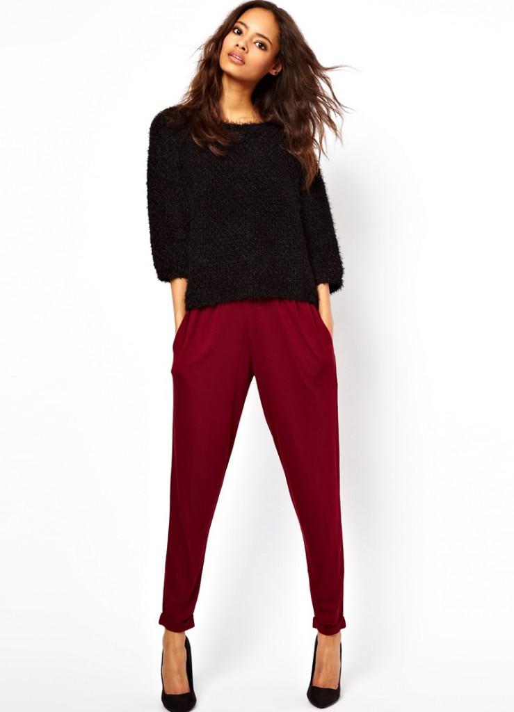 Бордовые брюки для женщин после 40 лет