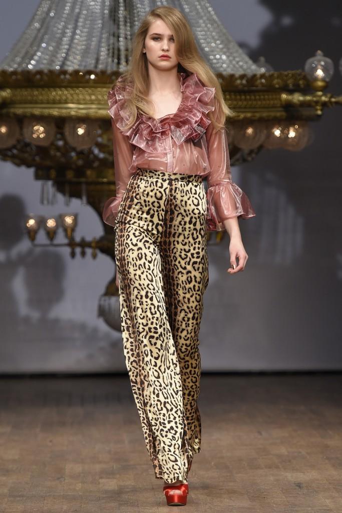 Атласные брюки с леопардовым принтом