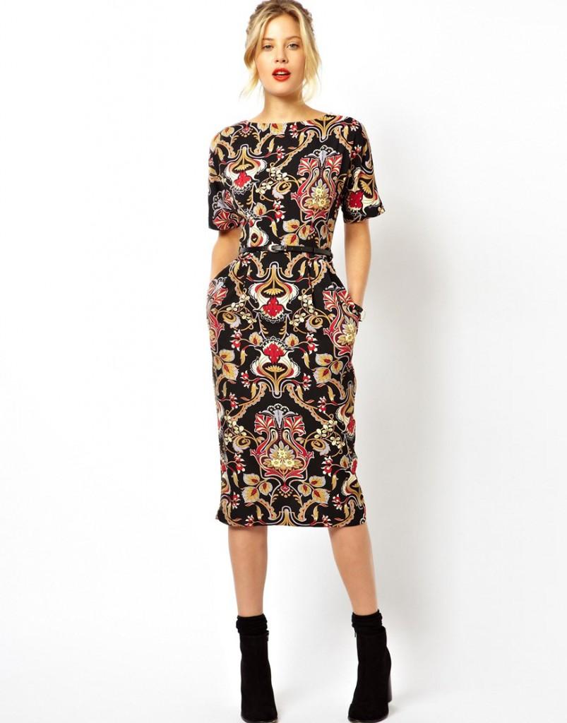 Платье футляр в стиле барокко