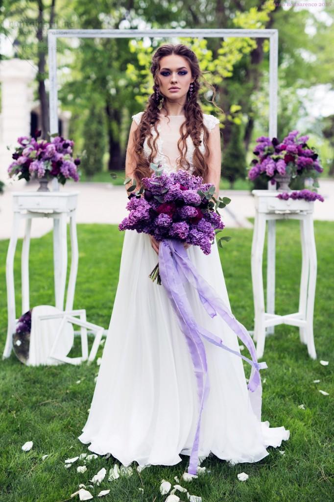 Свадебное нежное платье в стиле рококо