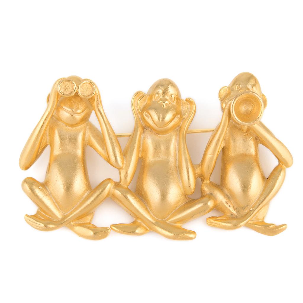 Винтажная золотистая брошь обезьянки
