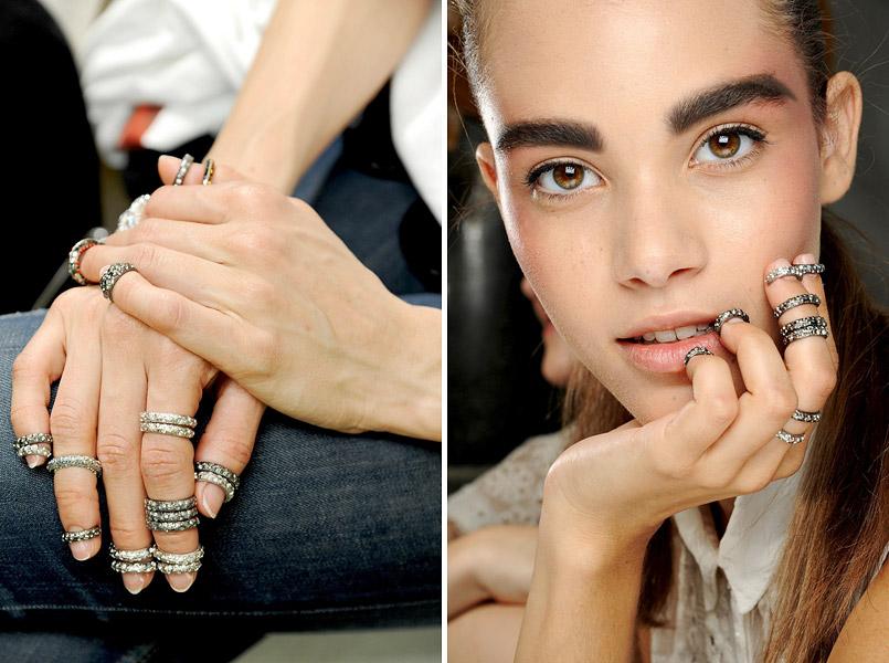 Фаланговые кольца с драгоценными камнями