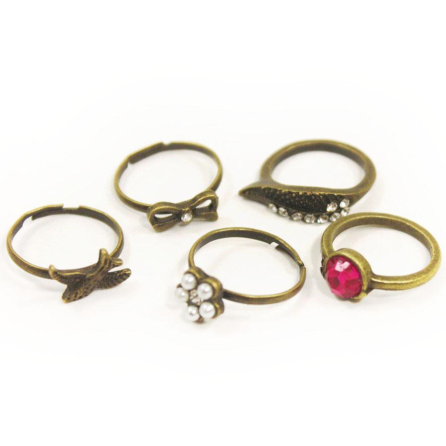 Красивые кольца-бижутерия на фаланги пальцев