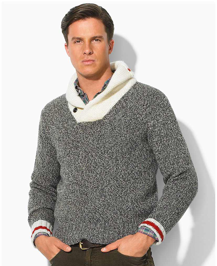 Серо-белый мужской свитер