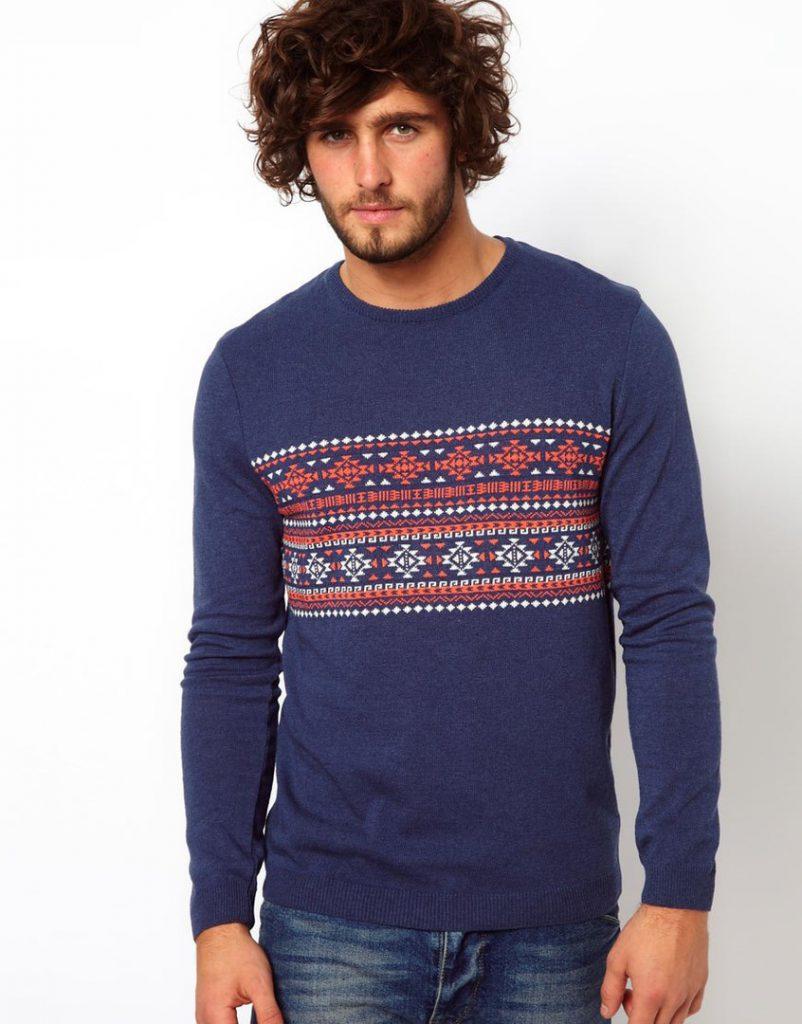 Синий мужской свитер с принтом