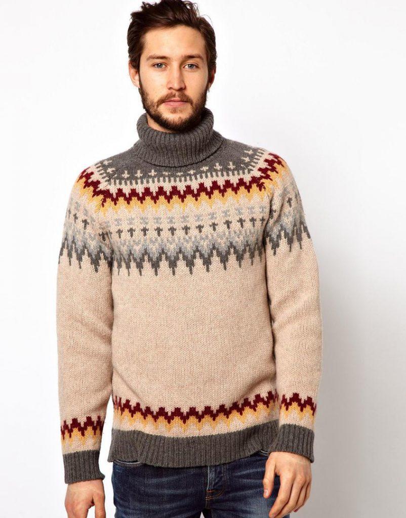 Бежево-серый мужской свитер