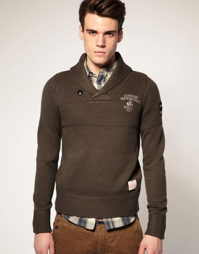 Коричневый мужской свитер