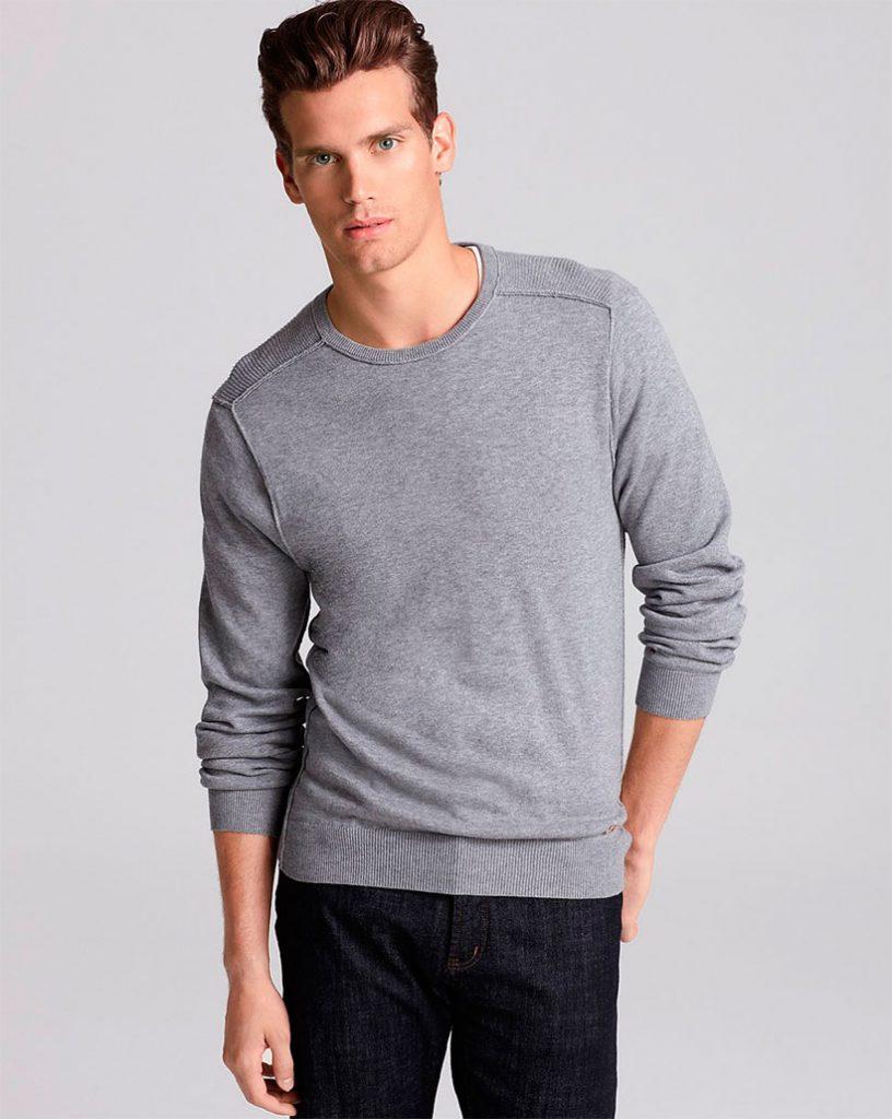 Летний серый мужской свитер