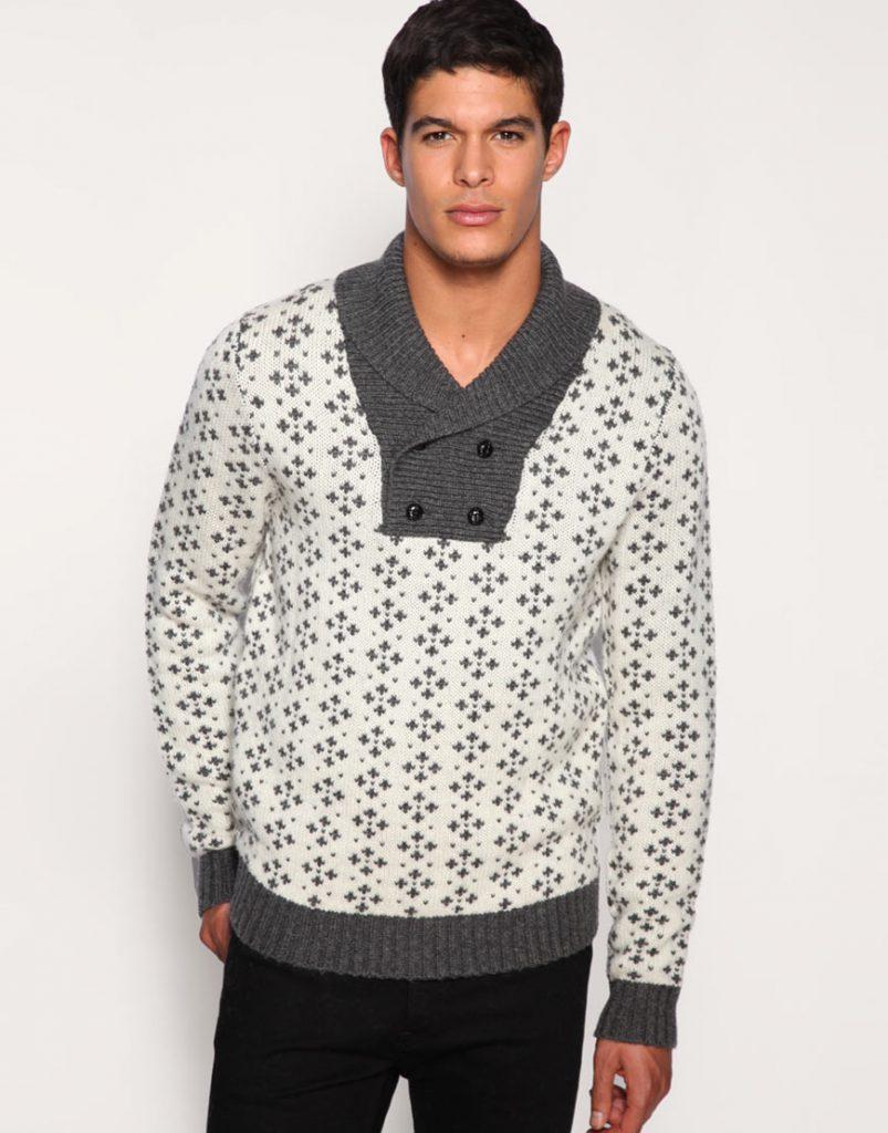 Бело-серый мужской свитер