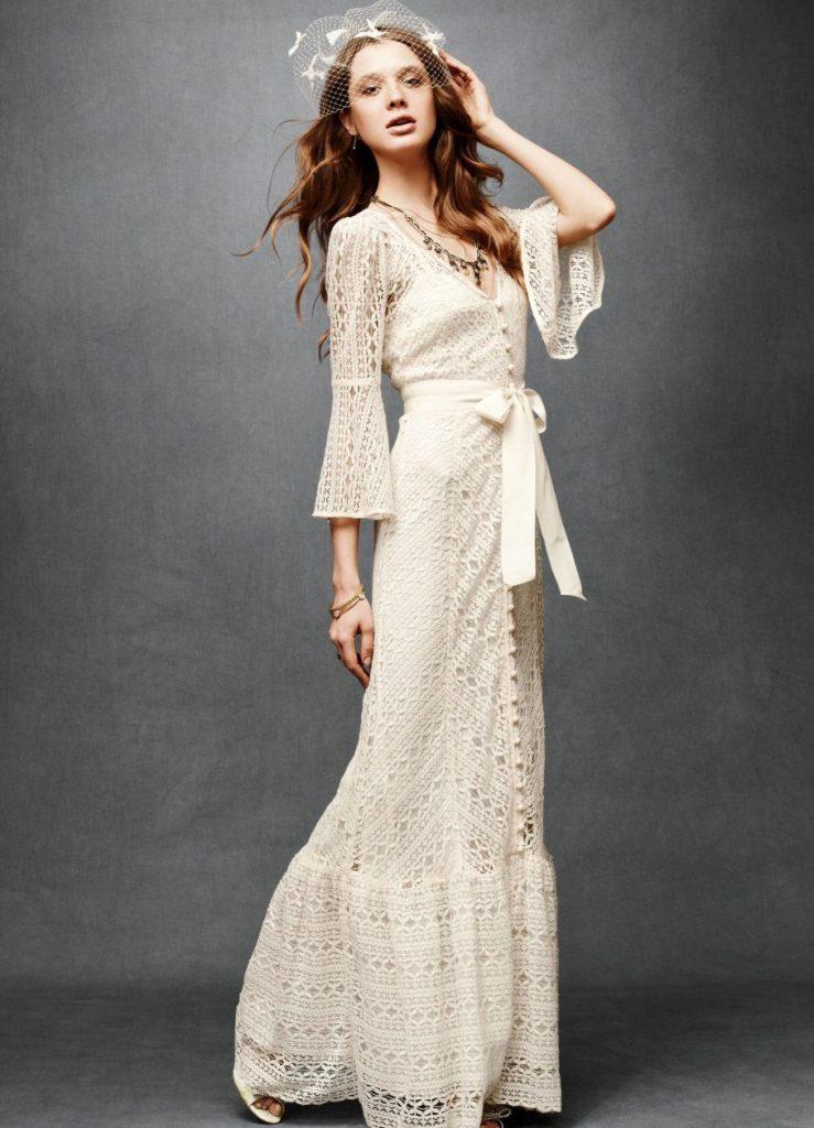 Нежное длинное винтажное свадебное платье