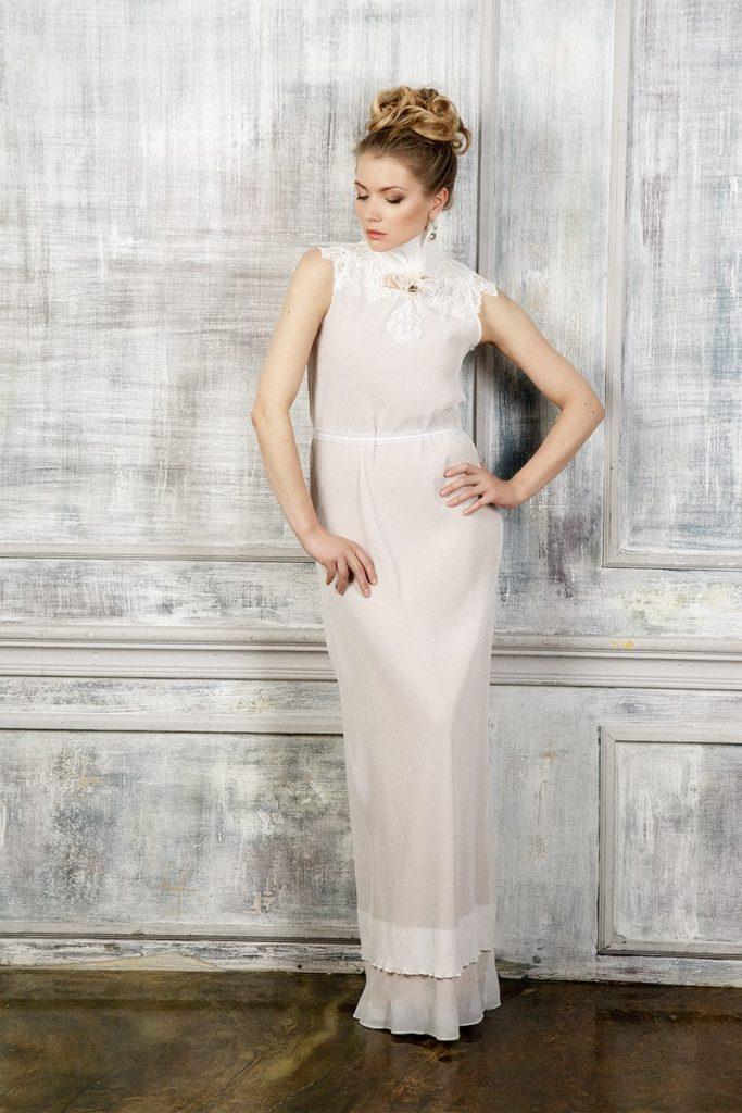 Винтажное свадебное платье почти прямого кроя