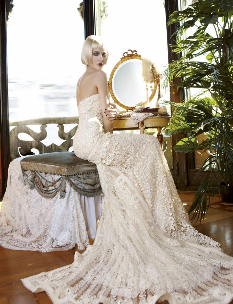 Роскошное длинное свадебное винтажное платье