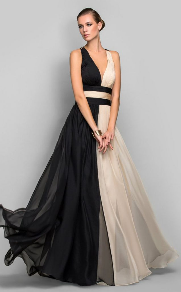 Роскошное вечернее двухцветное платье