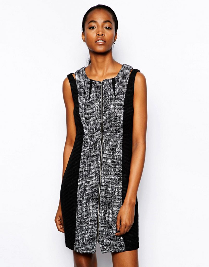 Серо-черное стильное двухцветное платье