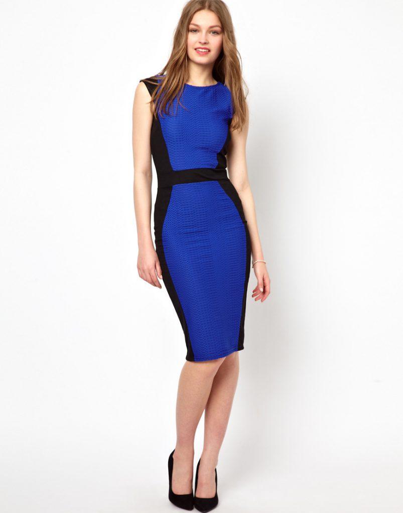 Черно-синее двухцветное платье