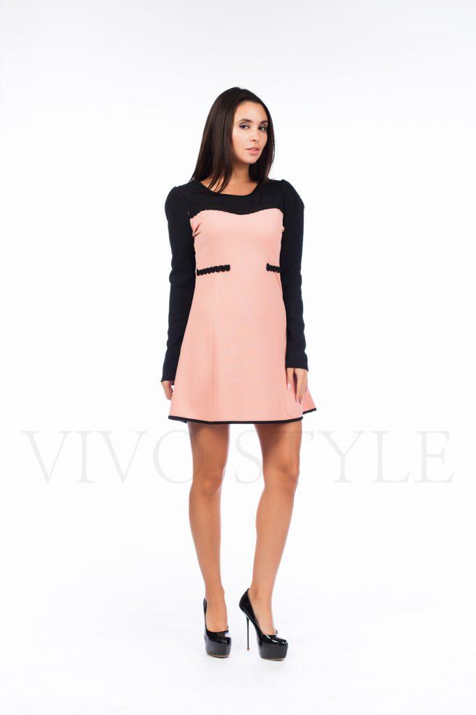 Розово-черное двухцветное платье