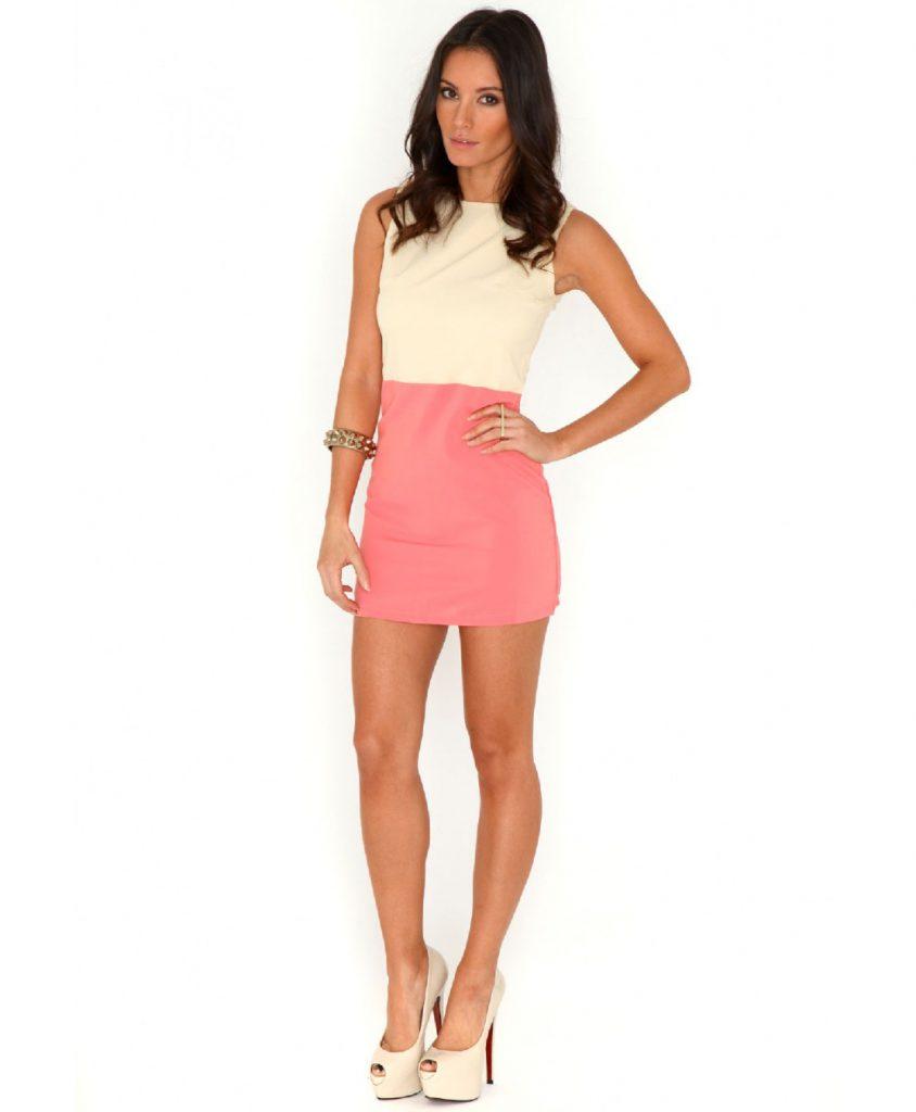 Кремово-розовое двухцветное платье