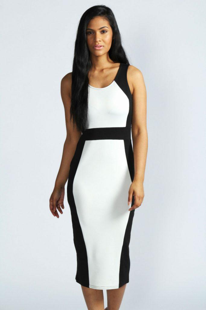 Черно-белое стильное двухцветное платье