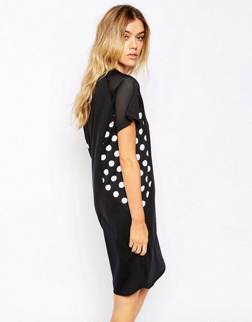 Платье со вставками из сетчатой ткани и ткани в горошек