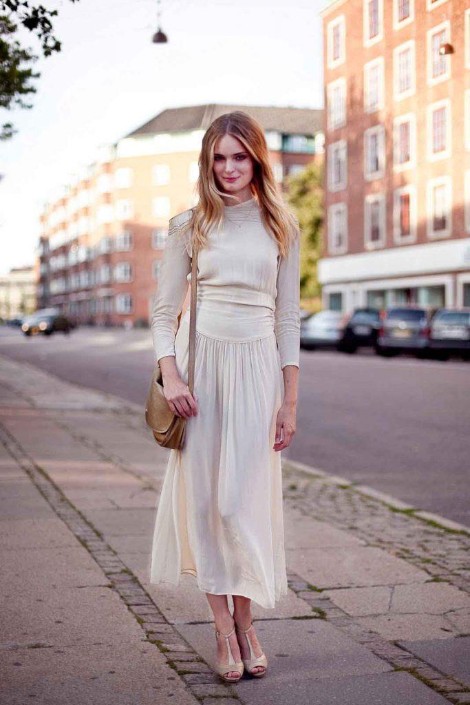 Кремовое винтажное платье 30 годов