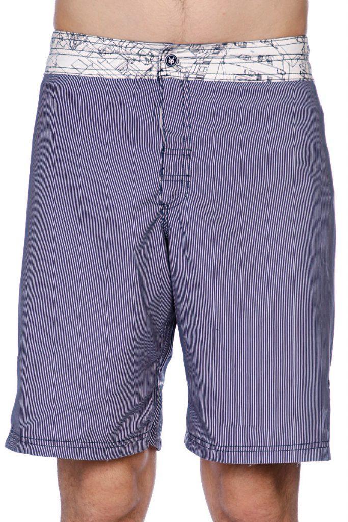 Серые полосатые пляжные мужские шорты