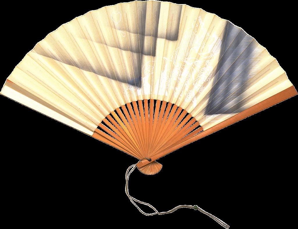 Бежево-черный японский веер