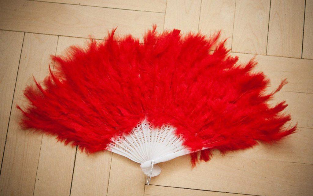 Красный веер из перьев