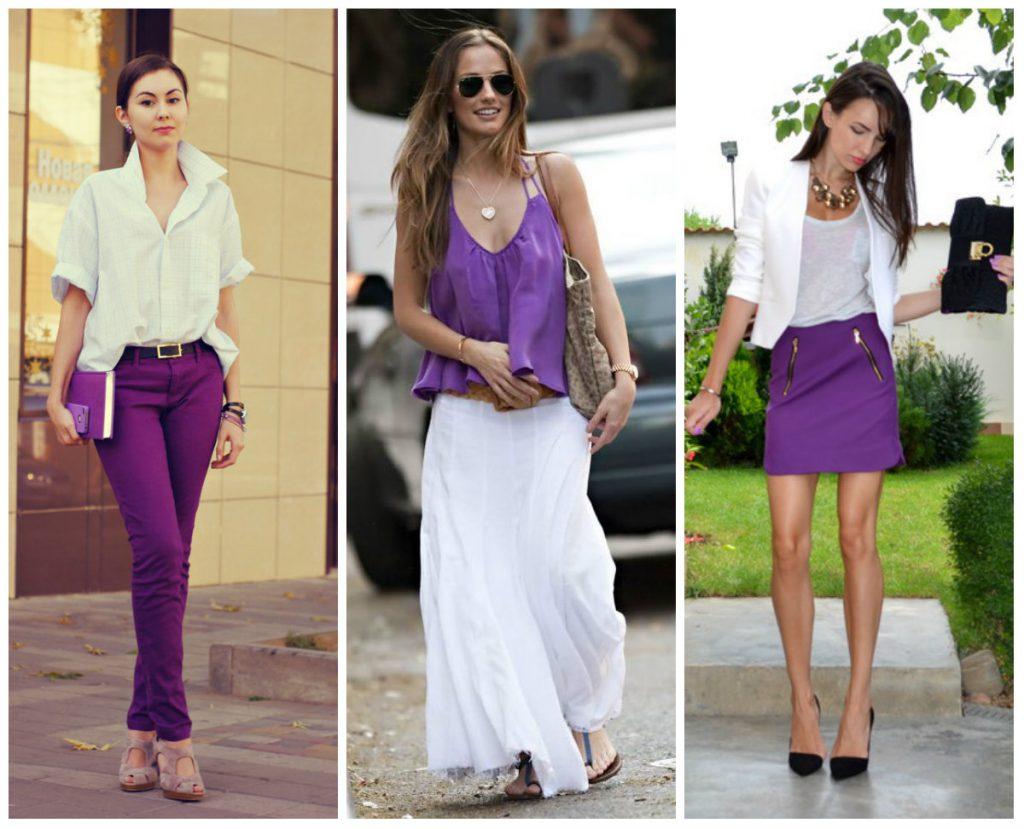 Сочетание белого и фиолетового в одежде