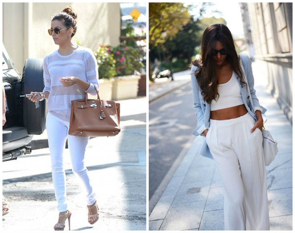 Белый с голубым в одежде