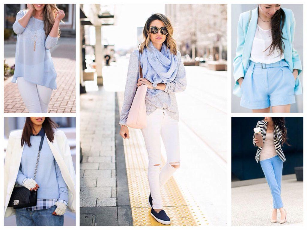 Сочетание белого и голубого в женской одежде