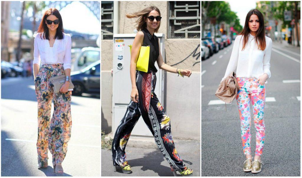 С чем носить стильные брюки с цветочным принтом