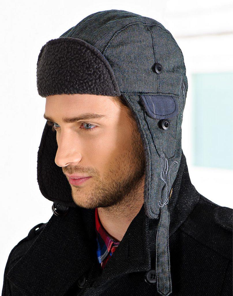 Тканевая осенняя мужская шапка ушанка