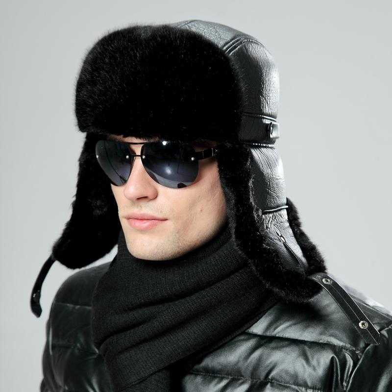 Черная мужская шапка малахай