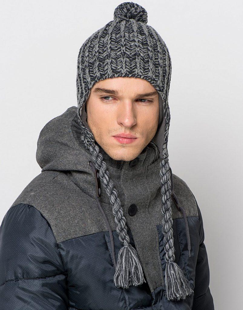 Мужская серая вязаная шапка ушанка