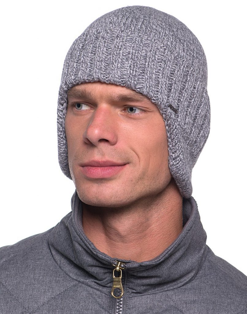 Вязаная серая шапка ушанка мужская