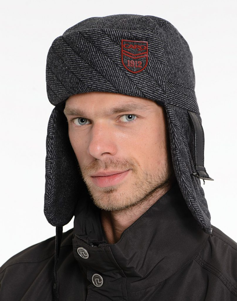 Серая теплая мужская шапка ушанка