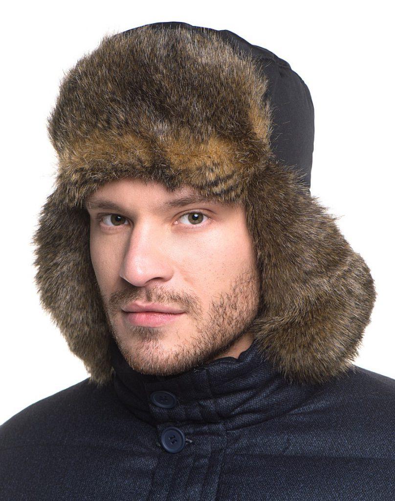 Стильная мужская меховая шапка ушанка