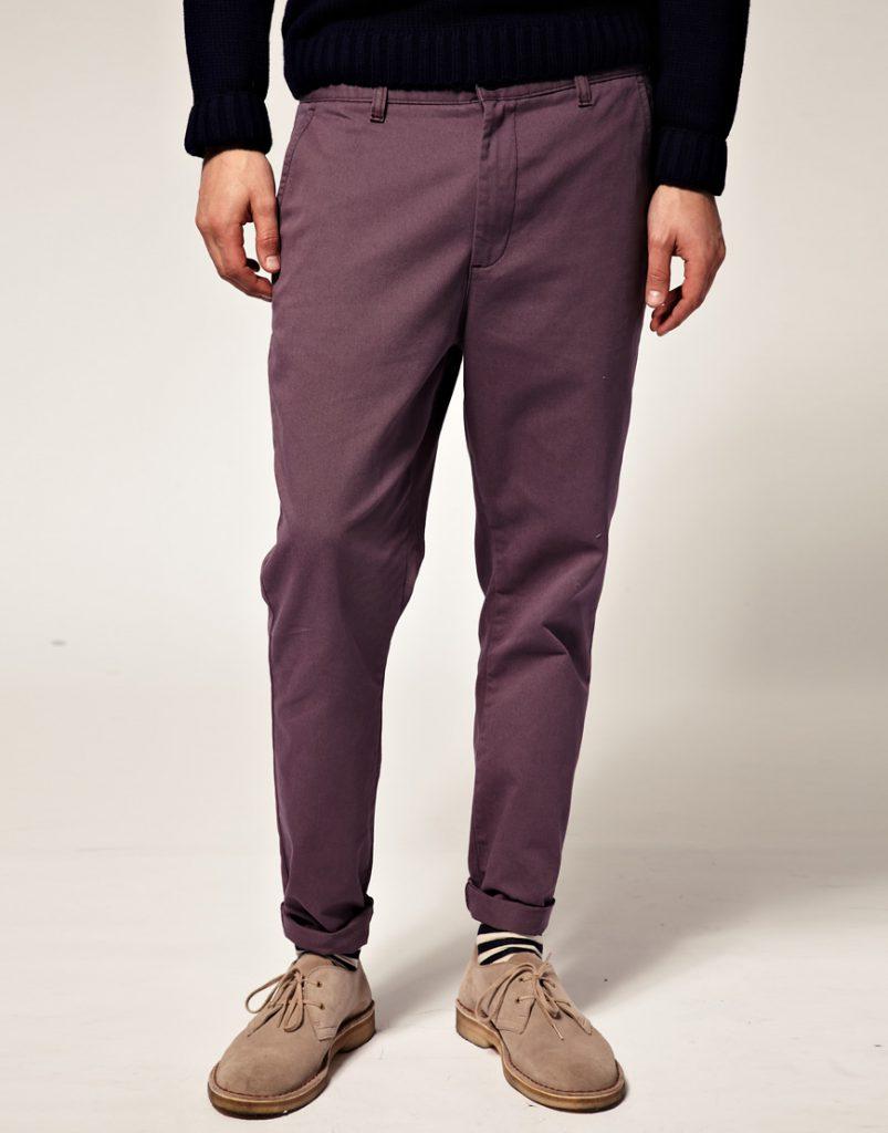 Стильные фиолетовые мужские чиносы
