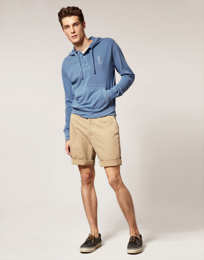 Мужские кремовые шорты чинос