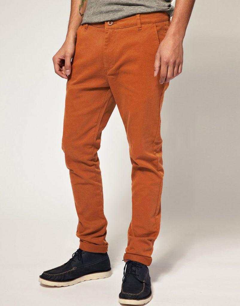 Оранжевые мужские чиносы