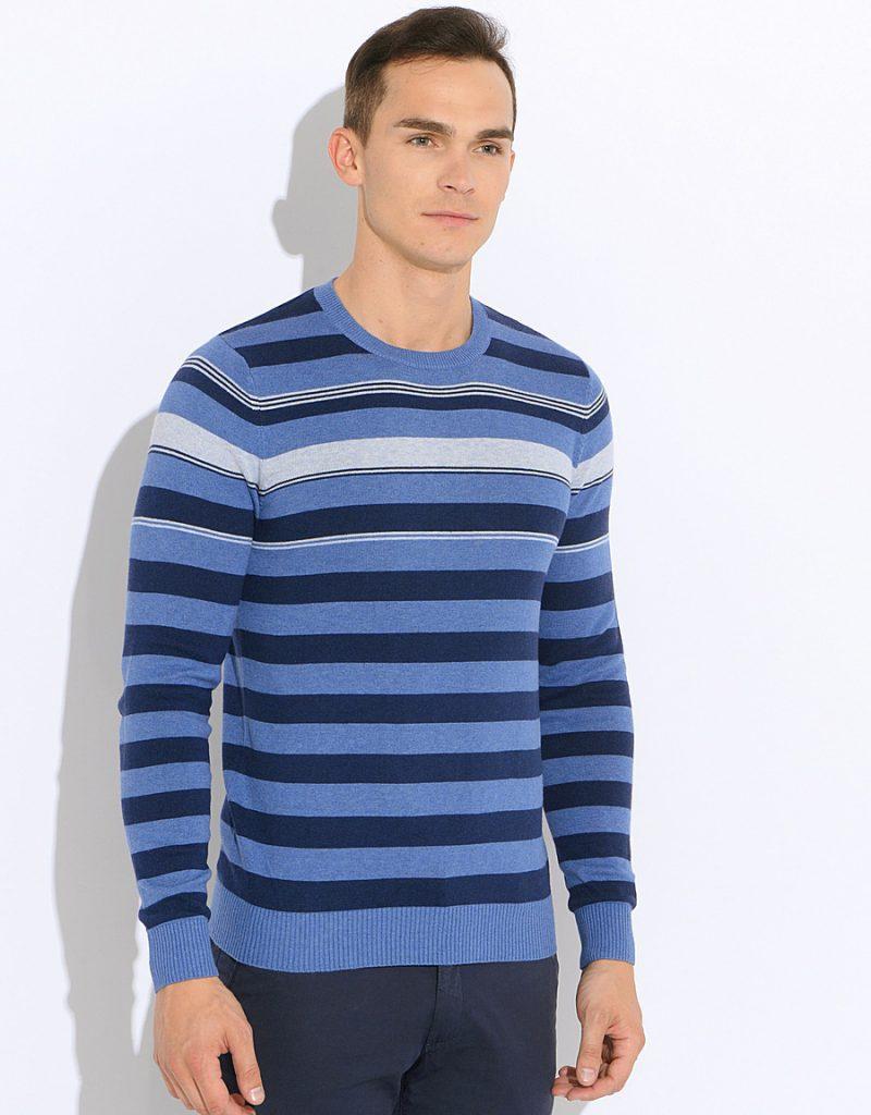 Сине-голубой мужской джемпер в горизонтальную полоску