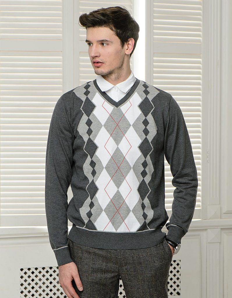 Серо-белый мужской джемпер с геометрическим узором