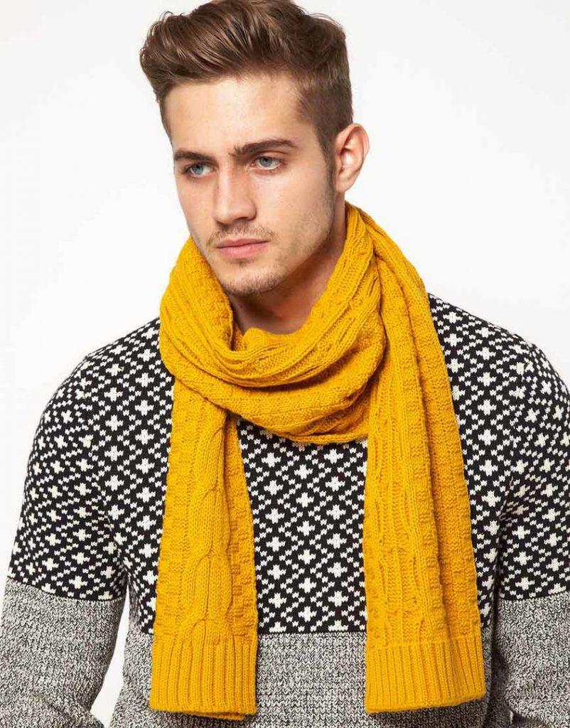 Желтый мужской шарф