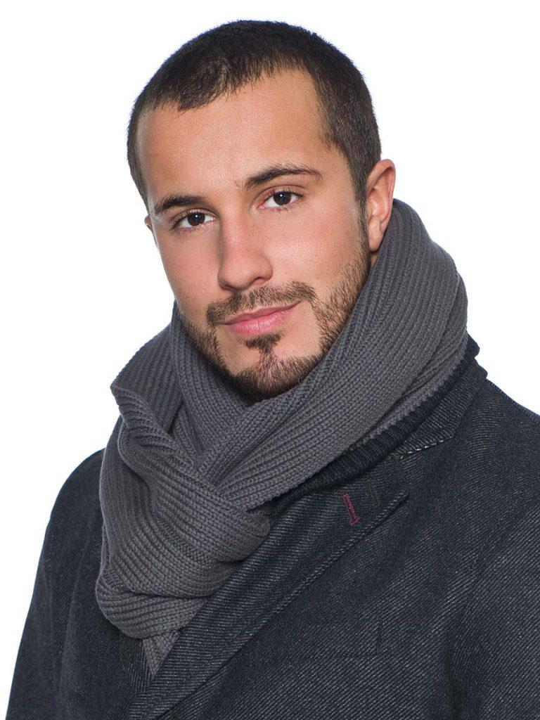 Повседневный серый мужской шарф