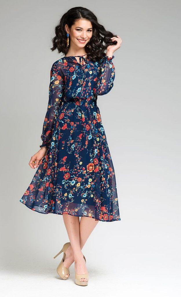 e1d2ad20b89 Синее летнее платье с цветочным принтом