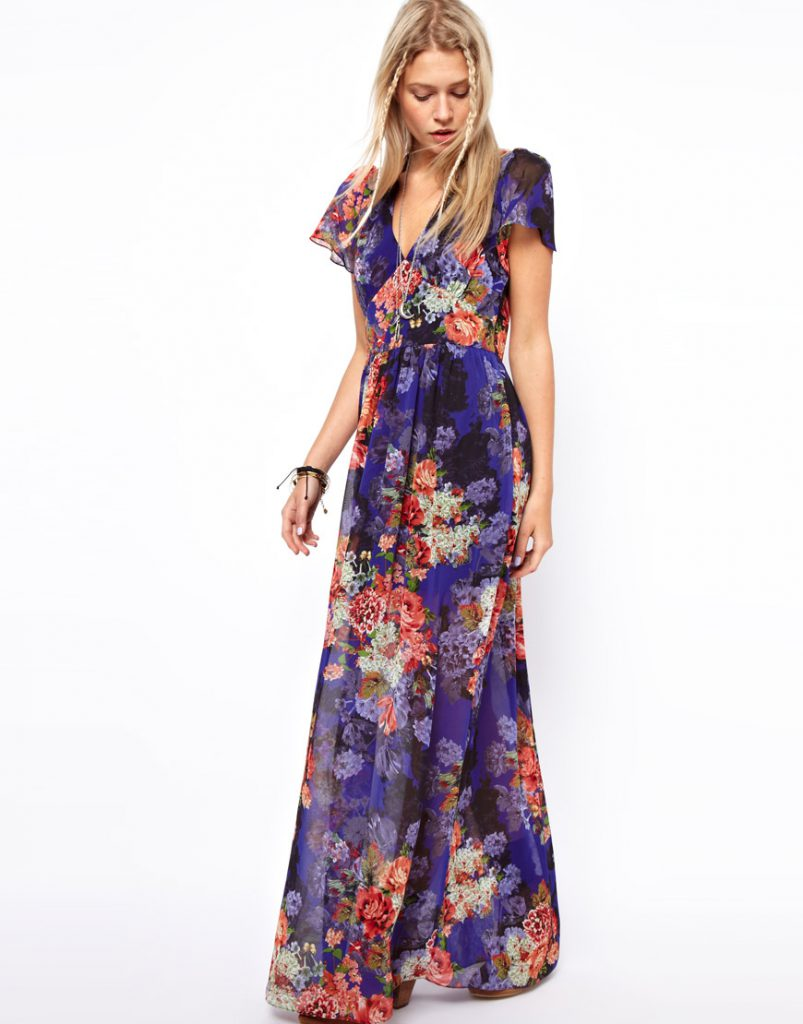 Шифоновое фиолетовое цветочное платье